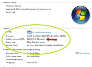 Computer में 4GB RAM है पर Usable 2.98GB दिखा रहा है ?